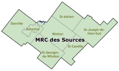 Carte de la MRC des Sources